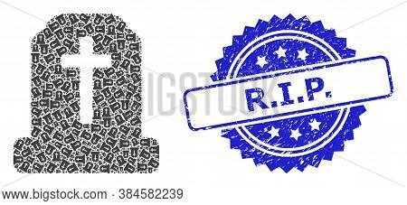 R.i.p. Scratched Stamp Seal And Vector Fractal Collage Cemetery. Blue Seal Contains R.i.p. Tag Insid