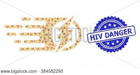 Hiv Danger Dirty Stamp Seal And Vector Recursive Collage Electric Spark. Blue Stamp Seal Contains Hi