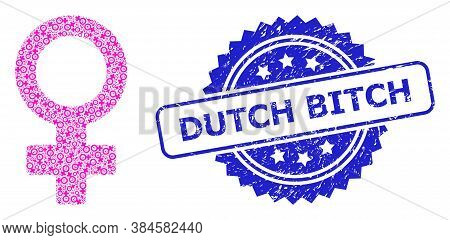 Dutch Bitch Dirty Seal Imitation And Vector Fractal Mosaic Female Symbol. Blue Stamp Seal Contains D