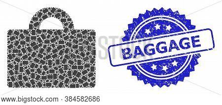Baggage Unclean Stamp Seal And Vector Recursive Mosaic Baggage. Blue Seal Has Baggage Tag Inside Ros