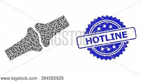 Hotline Scratched Seal Print And Vector Recursion Mosaic Bone Joint. Blue Seal Contains Hotline Capt