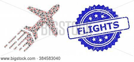 Flights Textured Stamp Seal And Vector Recursion Collage Air Liner. Blue Stamp Seal Includes Flights