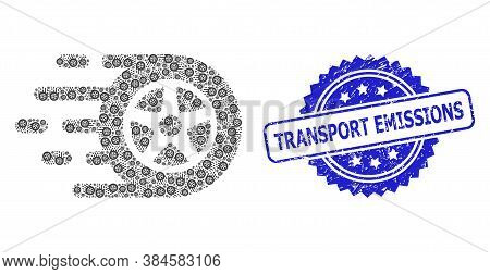 Transport Emissions Rubber Seal Print And Vector Recursive Collage Car Wheel. Blue Stamp Seal Contai