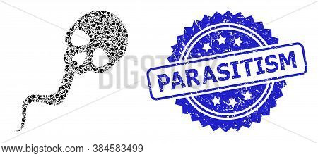 Parasitism Corroded Seal And Vector Recursive Mosaic Dead Sperm. Blue Stamp Seal Has Parasitism Text
