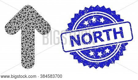 North Rubber Stamp Seal And Vector Recursion Collage Arrow Up. Blue Stamp Seal Contains North Title