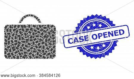 Case Opened Rubber Stamp Seal And Vector Recursive Mosaic Case. Blue Stamp Contains Case Opened Text