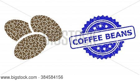 Coffee Beans Corroded Seal And Vector Recursive Mosaic Coffee Beans. Blue Seal Contains Coffee Beans