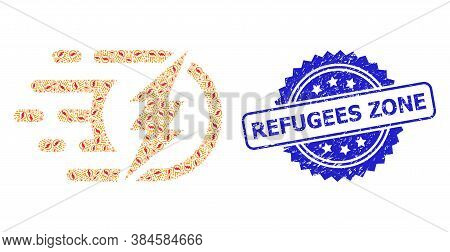 Refugees Zone Rubber Stamp Seal And Vector Recursive Composition Electrical Charge. Blue Stamp Seal