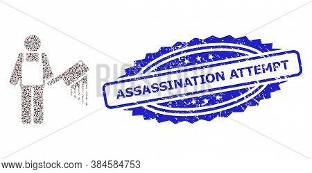 Assassination Attempt Corroded Stamp Seal And Vector Fractal Mosaic Bloody Butcher. Blue Stamp Seal