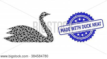 Made With Duck Meat Unclean Seal Print And Vector Recursion Collage Goose. Blue Stamp Seal Has Made
