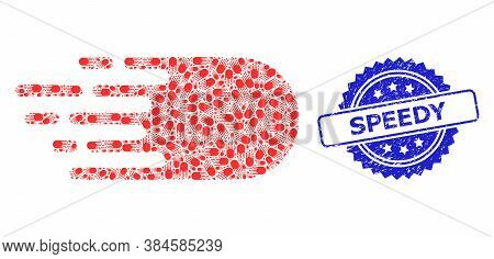 Speedy Grunge Seal And Vector Recursive Collage Electron Flight. Blue Seal Contains Speedy Text Insi