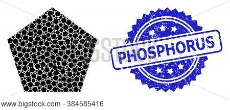 Phosphorus Grunge Stamp Seal And Vector Fractal Mosaic Filled Pentagon. Blue Stamp Seal Includes Pho