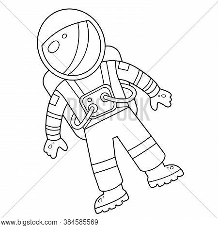 Coloring Page Outline Of A Cartoon Astronaut In Spacesuit. Space. Coloring Book For Kids.