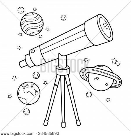 Coloring Page Outline Of A Cartoon Telescope With Stars And Planets. Space And Astronomy. Coloring B