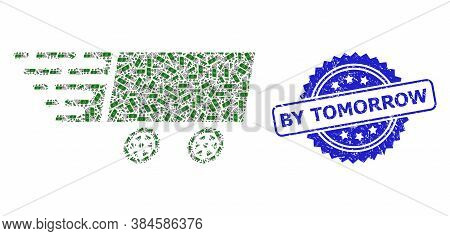 By Tomorrow Scratched Stamp Seal And Vector Fractal Collage Dollar Banknote Wagon. Blue Stamp Seal H