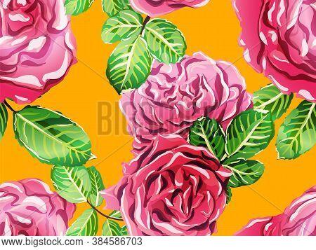 Gold Yellow And Saffron Botanic Rose Flower Swimwear Print. Girly Hawaiian Peony Background. Continu