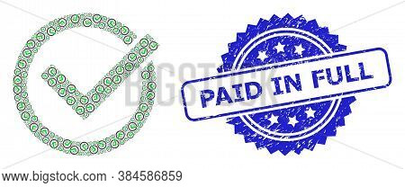 Paid In Full Rubber Stamp Seal And Vector Fractal Mosaic Accept Tick. Blue Stamp Seal Contains Paid