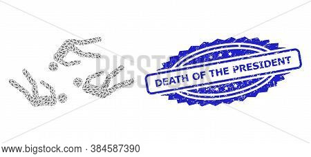 Death Of The President Scratched Seal Print And Vector Recursive Mosaic Dead People. Blue Seal Inclu