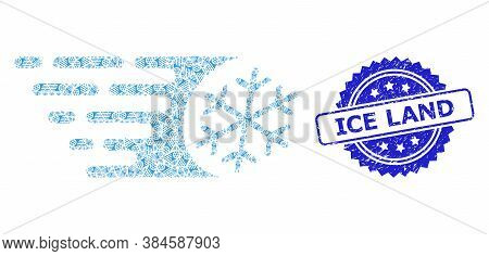 Ice Land Textured Stamp Seal And Vector Recursion Collage Fast Freezing. Blue Stamp Seal Has Ice Lan