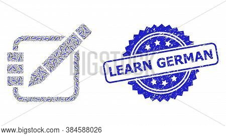 Learn German Grunge Seal And Vector Recursive Mosaic Edit Records. Blue Seal Contains Learn German T
