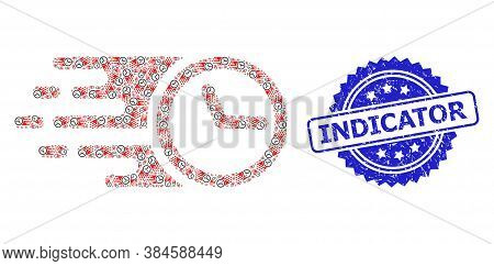 Indicator Rubber Stamp Seal And Vector Recursive Collage Clock. Blue Stamp Contains Indicator Text I