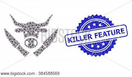 Killer Feature Scratched Stamp Seal And Vector Recursive Composition Butchery Knives. Blue Stamp Inc
