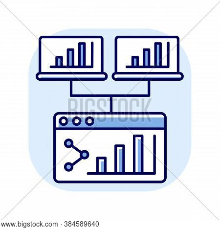Webcast Blue Rgb Color Icon. Share Online Presentation. Screen With Data Analytics. Information Diag