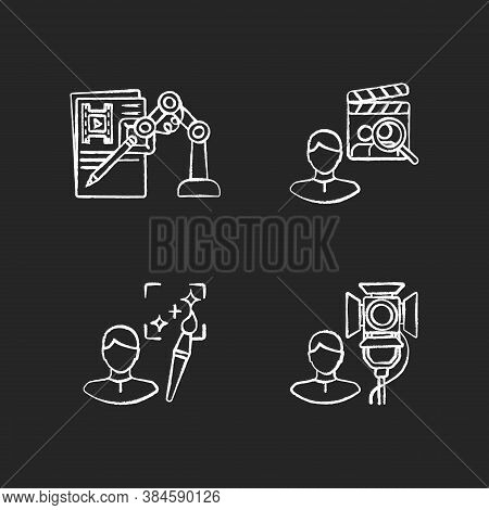Movie Production Chalk White Icons Set On Black Background. Ai Written Screenplay. Casting Director