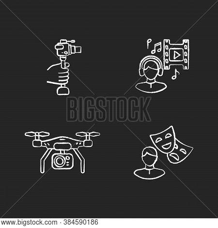 Produce Film Chalk White Icons Set On Black Background. Lightweight Minicamera For Hobby Filmmaking.