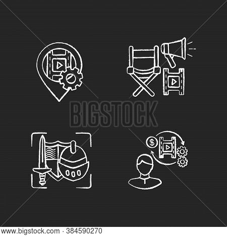 Film Production Process Chalk White Icons Set On Black Background. Location For Movie Shooting. Gps