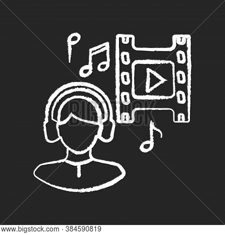 Music Supervisor Chalk White Icon On Black Background. Producer For Audio Making. Listen To Song In