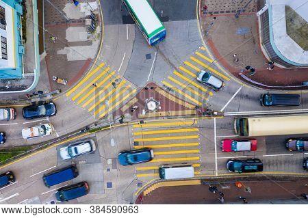 Sham Shui Po, Hong Kong 06 August 2020: Top view of Hong Kong city traffic