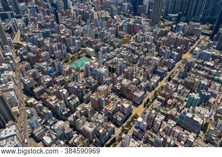 Sham Shui Po, Hong Kong 12 April 2020: Aerial view of Hong Kong city