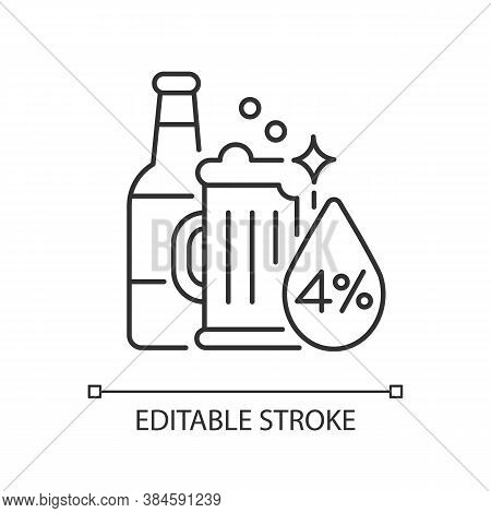 Alcohol Linear Icon. Beverage In Bottle. Spirit With Alcoholic Percent. Beer Glass. Drink In Mug. Th
