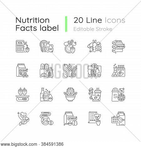 Healthy Eating Linear Icons Set. Protein Supplement. Vitamin Pill. Food Group. Dietary Ingredients.