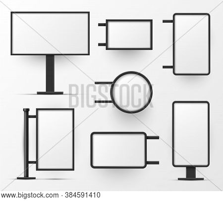Lightboxes Variety Stand, Wall Mounted Blank Templates Set. Lighted Surfaces Round, Rectangular.