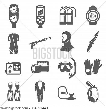 Diving Equipment Bold Black Silhouette Icons Set Isolated On White. Underwater Accessories.