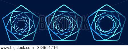 Set Of Swirling Symbols. Optical Illusion. Twisted Structure. 3d Wireframe Abstract Tunnel. Vector I