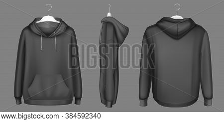 Hoody, Black Sweatshirt On Hanger Mock Up Front, Side And Back View. Isolated Hoodie With Long Sleev