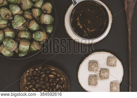 Oak Tree Acorns Coffee Background With Visible Oak Tree Acorns, Coffee Beans, Brown Sugar Cubes And