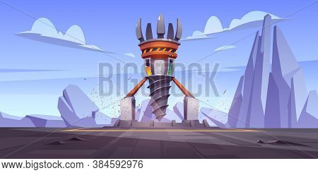 Futuristic Drilling Rig, Drill Ship For Exploration And Mining. Vector Cartoon Landscape With Platfo