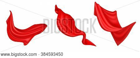 Flying Red Silk Fabric Isolated On White Background. Vector Realistic Set Of Billowing Velvet Clothe