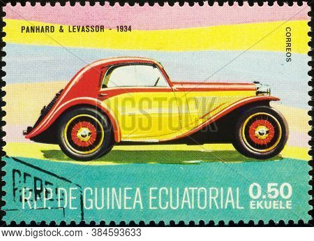 Moscow, Russia - September 08, 2020: Stamp Printed In Equatorial Guinea Shows French Retro Car Panha