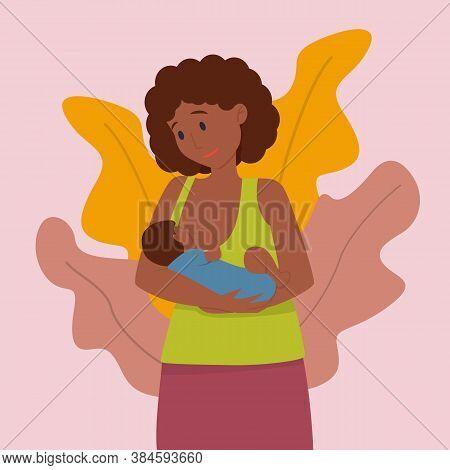Vector Illustration: Black Woman Breastfeeds Her Baby. Breastfeeding Concept.