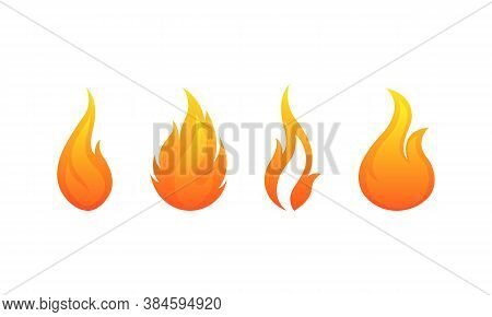 Fire Flames Vector Icons Set. Flame Bonfire Symbol Isolated. Vector Eps10