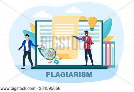 Creator Writing An Article And Plagiarist Or Pirate Stealing His Ideas, Content, Work Results. Conce