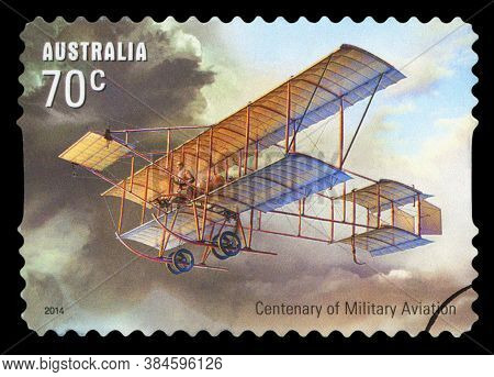 Australia - Circa 2014: A Stamp Printed In Australia Shows The Historical Aircraft, Centenary Of Mil