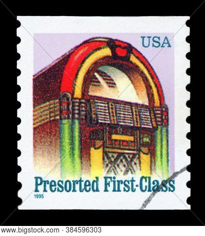 United States Of America - Circa 1995: A Stamp Printed In Usa Shows Jukebox, Presorted First Class,