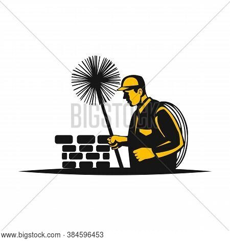 Chimney Sweep With Tool In Uniform And Chimney On The Roof Symbol. Retro Style Illustration Of A Chi