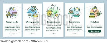 Special Offers Onboarding Mobile App Page Screen With Concepts. Food Propositions. Types Of Meals Se